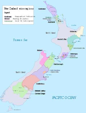 Map of grape growing regions of New Zealand