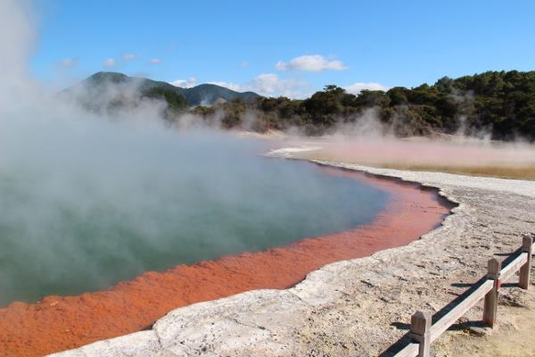 Picture of a steaming volcanic lake in New Zealand
